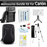 "Accessories Bundle Kit For Canon PowerShot ELPH 500 HS SX600 HS SX700 HS, D30, SX610 HS, SX710 HS Digital Camera Includes (1200maH) Replacement Canon NB-6L Battery + Charger + 50"" Tripod + Case + More"