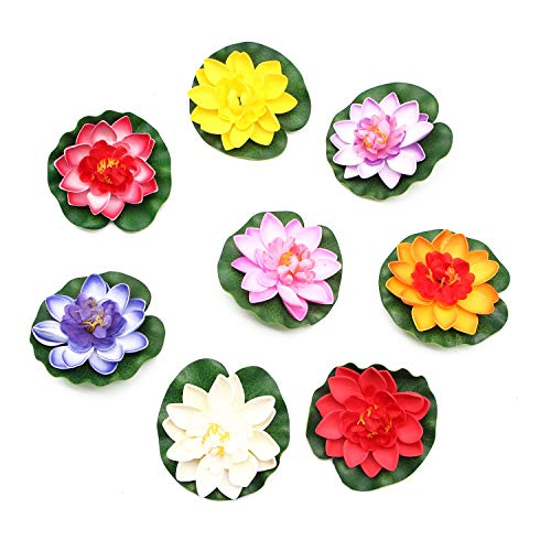 JETEHO Set of 8 Artificial Floating Foam Lotus Flower Water Lily for Home Garden Pond Aquarium Wedding Decor