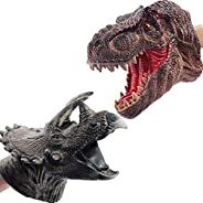 Liberty Imports 2 Pack Dinosaur Hand Puppets | Realistic Soft Rubber Tyrannosaurus Rex & Triceratops Toys