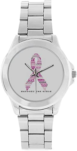 Thanksgiving Day Gift Breast Cancer Awareness Pink Ribbon Unisex Stainless Steel Watch
