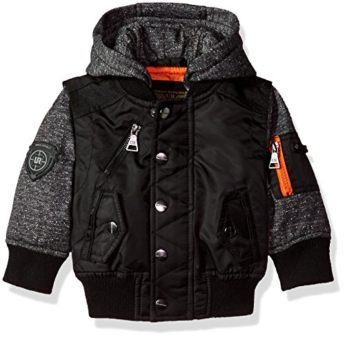Urban Republic Baby Boys Ur Poly Twill Jacket, Black 6140IB, 18M (Twill Kids Jacket Black)
