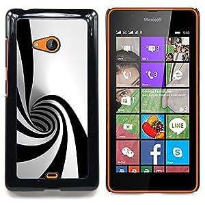 Eason Shop / Premium SLIM PC / Aliminium Casa Carcasa Funda Case Bandera Cover - Negro Blanco Hypnotic Forma Túnel Psychedelic Art - For Nokia Lumia 540