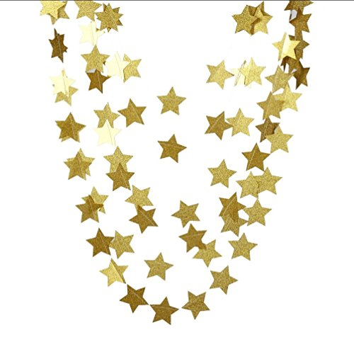 12' New Decor - Parmay Gold Glitter Star Garland New Year's Party Decor 12 Feet