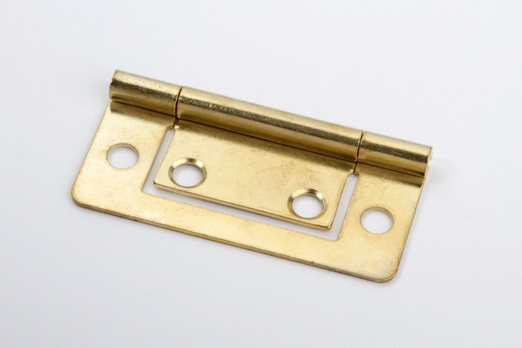 2 St/ück Lamellent/ürscharniere M/öbelscharniere Schrankscharniere Metall vermessingt 75 x 35mm