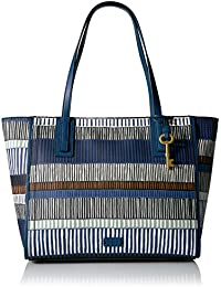 Fossil Emma Tote-Navy Stripe