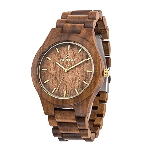 Men's Wooden Watch, Sentai Handmade Vintage Quartz Watches, Natural Wooden Wrist Watch