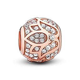Glamulet 925 Sterling Silver Charm Bead Fits Pandora Bracelet Pandora Charms Rose Gold Lotus Gem Crystal Ideal Fine Jewelry Gifts for Birthday, Anniversary