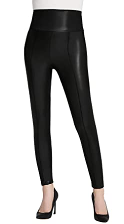 4862cc75d96c8e Everbellus High Waisted Faux Leather Leggings for Women Sexy Black Leather  Pants Small