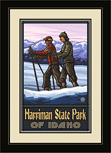 Northwest Art Mall PAL-3021 MFGDM CCS Harriman State Park Idaho Cross Country Skiers Framed Wall Art by Artist Paul A. Lanquist, 13 by - Mall Harriman