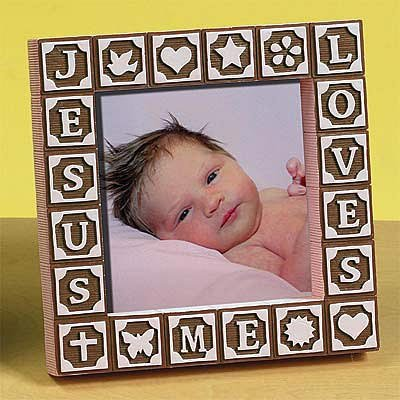 Abbey Press ABC Block Photo Frame Retired - Inspriational Religious Faith Blessing 48285PNK(AU) by Abbey Press