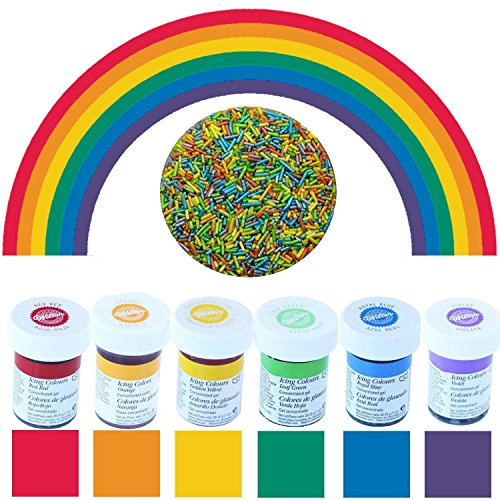 yagma Lebensmittelfarben im Spar-Set 6 x 28 g - Regenbogenmix (incl. Promopack Glimmerzucker als Regenbogenmix)