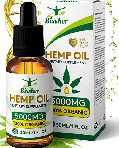 BIXSHER High-Strength-Hemp-Oil-5000MG, 100% Pure-Natural, Pain-Stress-Anxiety-Relief, Vegan Source-Omega-3-6-9, Helps…