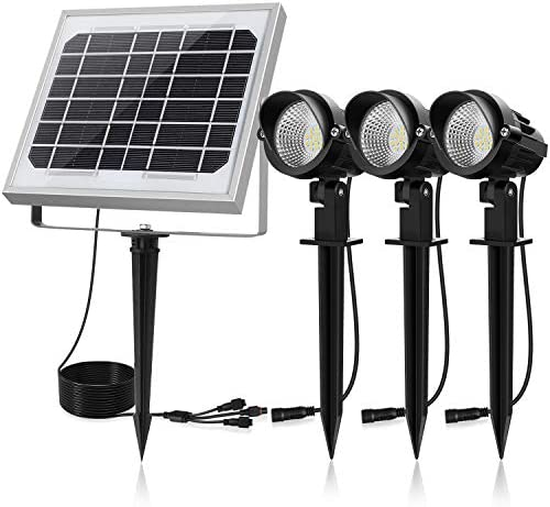 CLY Solar Spotlights LED 3 in 1, Solar Landscape Lights Solar Spot Lights Outdoor, Waterproof IP66, Solar Powered Lights Wall Lights Security Lighting for Garden, Lawn, Patio, Yard, 3000K Warm White