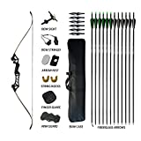 Tongtu Takedown Recurve Bow and Hunting Broadheads Arrows Kit Package 30 35 40 45 50 55 60 lb Aluminum Alloy Riser Hunting Shooting Target Practice Competition Archery Longbow Set with Bow Case Right Hand