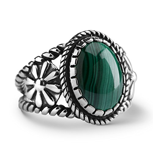 American West Sterling Silver Green Malachite Gemstone Ring Size 8