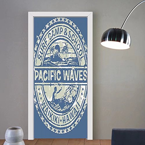 Gzhihine custom made 3d door stickers Modern Pacific Waves Surf Camp and School Hawaii Logo Motif with Artsy Effects Design Khaki Slate Blue For Room Decor 30x79 (Camp Waves Surf)