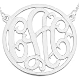 "10wMono150R 10K White Gold (1.5""x0.4mm thin) 3-Initial Circle Monogram Necklace"