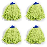 QIPENG 12'' Professional Microfiber Mop Head 4 Pack, Washable Wet and Dry Mop Heads, Super Absorbent Mop (Green)
