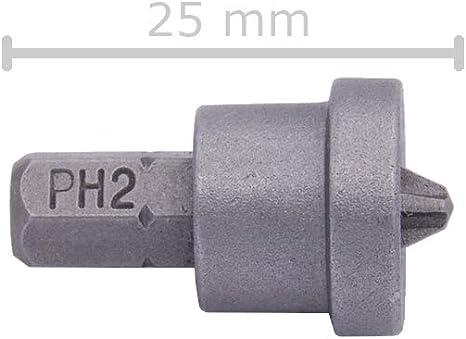 2 ST.Schraubvorsatz PH2 Bit mit Tiefenanschlag 25 mm für Trockenbauschrauben