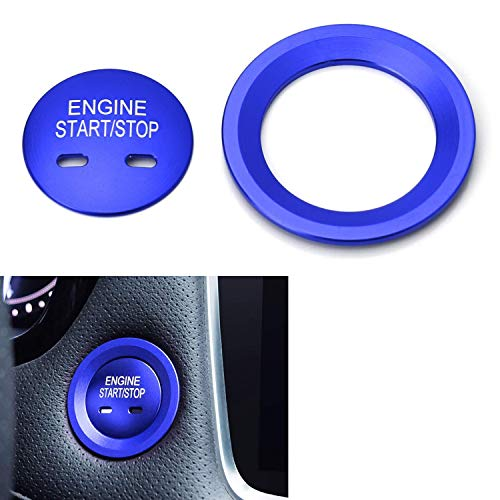 iJDMTOY Blue Keyless Engine Push Start Button & Surrounding Ring For Cadillac Chevy GMC etc, 2pc Aluminum Ring/Cover Set ()