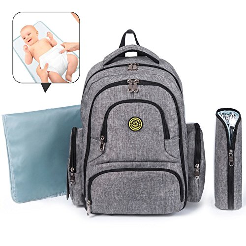 Baby Diaper Bag, Cshidworld Multi-Function Waterproof Travel Backpack Nappy Bags with Changing Pad, Stroller Clips & Insulated Pocket For Mom & Dad (Grey A)