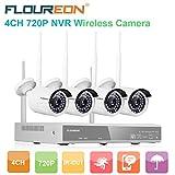 Floureon 4CH 1080P Wireless CCTV DVR Camera Security System+4x 720P Outdoor Waterproof IP Camera WIFI WLAN Camera Security Video Recorder NVR Kit