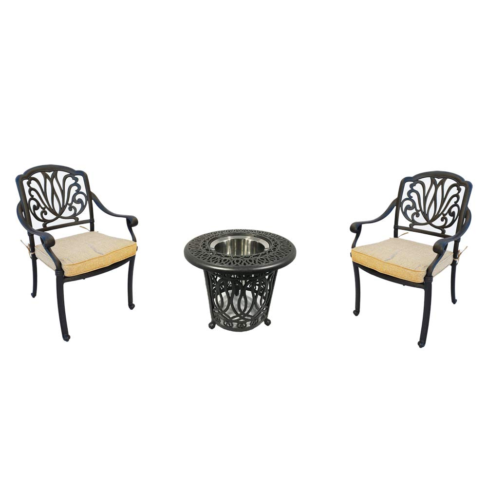 Amazon com 3 piece bistro patio set conversation outdoor cast aluminum furniture elisabeth end table chairs garden outdoor