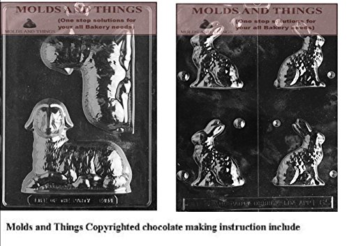 (Lamb Chocolate/Candy Mold and Small Sitting Bunny Chocolate/Candy Mold With © Chocolate Making Instruction)