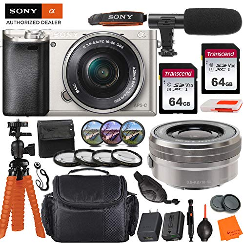 Sony Alpha a6000 Mirrorless Digital Camera with 16-50mm Lens - Silver & Pro Accessory Bundle incl. 2X 64GB Transcend Memory Card, Gadget Bag, UV-CPL-FLD Filters and Macro Kits and More