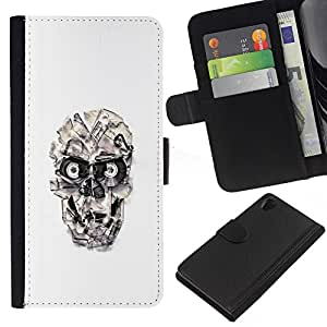 JackGot ( Cráneo cinta Casette ) Sony Xperia Z2 D6502 la tarjeta de Crédito Slots PU Funda de cuero Monedero caso cubierta de piel