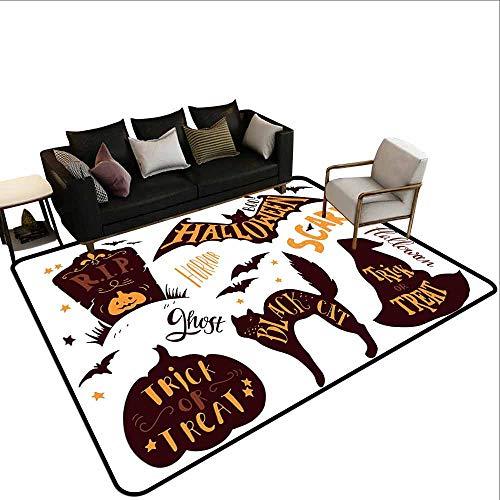 Office Marshal Carpet Chair Vintage Halloween,Halloween Symbols Trick or Treat Bat Tombstone Ghost Candy Scary,Dark Brown Orange ()