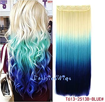 Amazon white blonde to blue three colors ombre hair white blonde to blue three colors ombre hair extension synthetic hair extensions uf211 pmusecretfo Choice Image