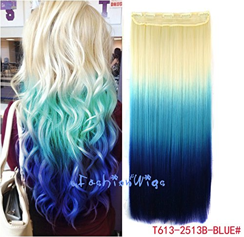 Amazon white blonde to blue three colors ombre hair amazon white blonde to blue three colors ombre hair extension synthetic hair extensions uf211 beauty urmus Choice Image