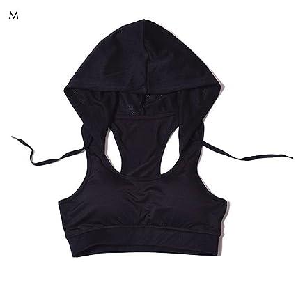 Mujer Sujetador Deportivo con capucha de yoga sujetador Mujer sujeción fuerte – Sujetador deportivo para fitness