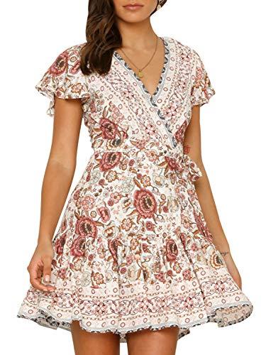 Boho Short Sleeve Floral Beach Dress V Neck Ruffle Split Party Dress Beige-Short-S
