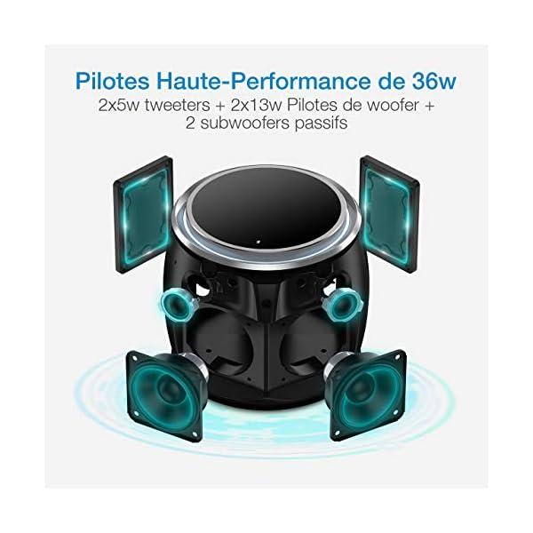 POWERADD Enceinte Bluetooth Portable, 36W Basse Performant avec 4 Pilotes Intégrés, 4000mAh Grande Capacité, Volume Rotatif, Musique de 12H pour Intérieur/Extérieur 3