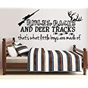 RIFLES RACKS AND DEER TRACKS, That's what little boys are made of #8 ~ WALL DECAL, 20  X 40