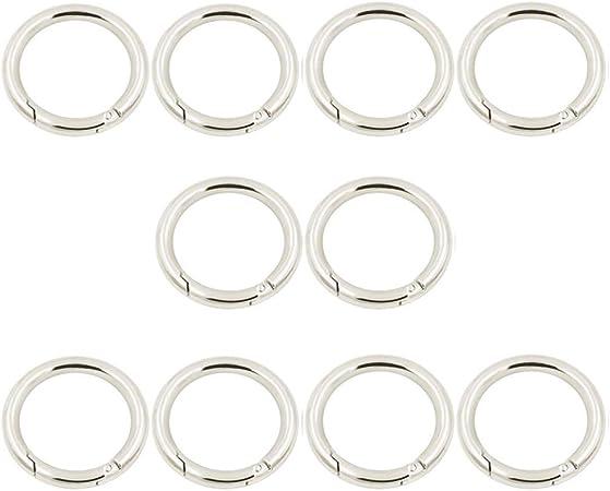 MUCHENG Pack of 3 O Ring Round Spring Gate Carabiner Snap Clip Trigger Spring Keyring Buckle Spring coil