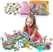 Flower Garden Building Toys,DIY Bouquet Floral Arrangement Playset Pretend Garden Game -for Age 3 4 5 6 7 Year