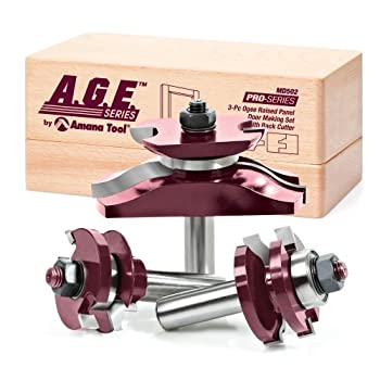 Image of A.G.E. Series by Amana Tool MD502 Raised Panel Door Making Carbide Tipped Router Bit Set with Back Cutter with 1/2-Inch Shank, 3-Piece Door & Window Bits