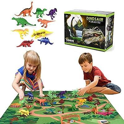 Bloomma Kids Carpet Playmat Rug Dinosaur Toys with Play Mat Kids Dinosaur Toys Set Playing with Dinosaur and Toys Play Mat Car Carpet with Road fit Home//Kindergarten