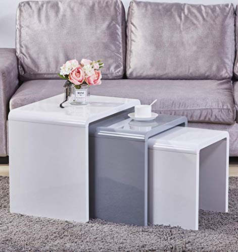 Aonier Nest of 3 Tables High Gloss Coffee Table Set Nesting Tables Wood Coffee Table Living Room End Side Tables,Multi-Functional Side Table, White & Gray ()