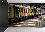 wall26 - Old Trains at Abandoned Train Depot - Removable Wall Mural | Self-adhesive Large Wallpaper - 66x96 inches