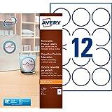 Avery 240 Etiquettes Autocollantes Amovibles Rondes (12 par Feuille) - Ø60mm - Impression Laser, Jet d'Encre - Blanc (L7104REV)