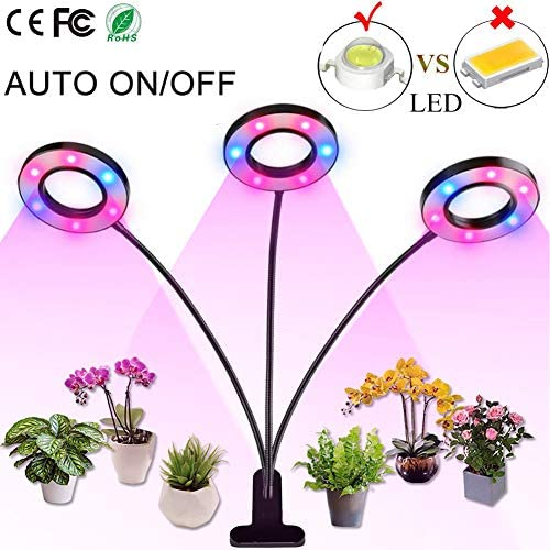Professional Grow Light, 36W LED Full Spectrum Plant Light for Indoor Plants, Auto ON Off Timer, 8 Dimmable 4 8 12H Timing Triple Head Growing Lamp for Gardening Seedling Herb Succulent Hydroponic