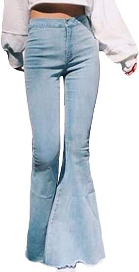 Memories Love Women Wide Leg High Waist Bell Bottom Flare Pants Denim Jeans Pants