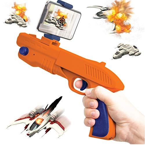 (Sharper Image Augmented Virtual Reality Toy Blaster, Complete Video Gaming System, Connects to Smartphone via Bluetooth, Use with Free AR App, Games for Teens and Kids, Orange/Blue)