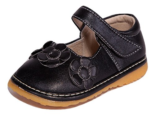 Little Mae's Boutique Squeaky Shoes | Black Three Flower Mary Jane Toddler Girl Shoes (3) -
