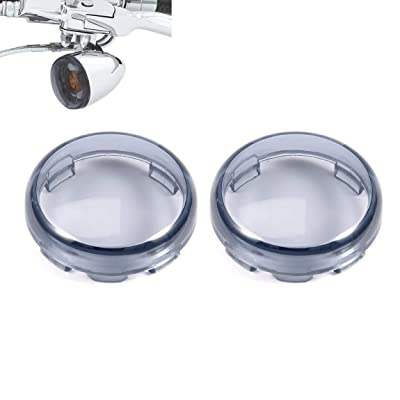 PBYMT Light Smoke Bullet Turn Signal Light Lens Cover 2 Inches Caps Compatible for Harley Softail Sportster Touring Street Glide Road King 1997-2020 (2pcs): Automotive
