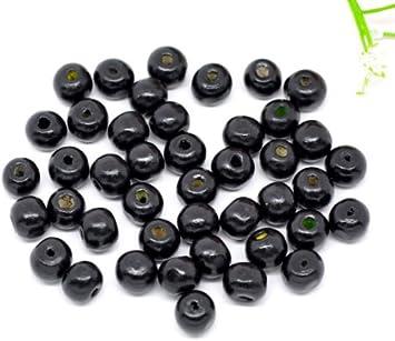 SiAura Material - 500 perlas de madera, 8 mm, con agujero de 2-3 mm, redondas, color negro, para manualidades